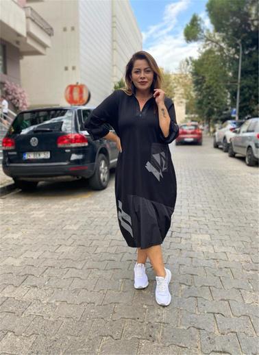 Optique Knitwear Baskılı Fermuarlı Yaka Uzun Kol Viskon Elbise Siyah